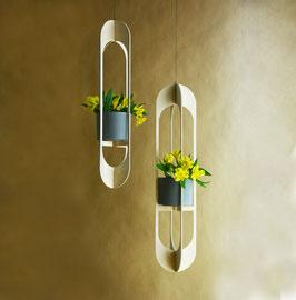 minimalistische Blumenampeln | hängende Pflanztöpfe | schwebende Vasen im 2er Set