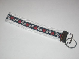 Schlüsselband Trachtenlook / weiß