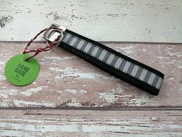 Schlüsselband Streifen / schwarz
