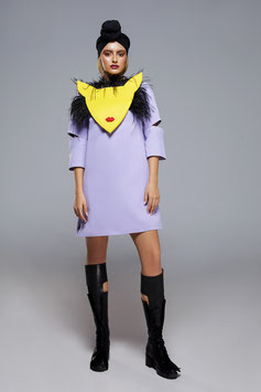 Open Sleeves Dress with feathers mask
