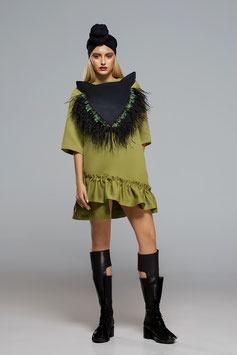 Volant Dress with feather mask