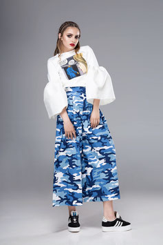 Blue Camouflage Culottes