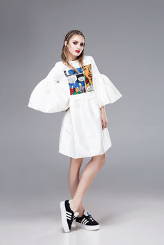 Popart patched dress