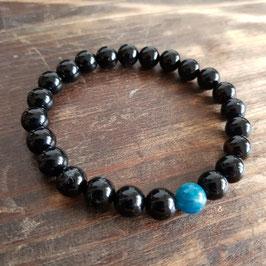 Bracelet couple homme apatite bleue 8mm