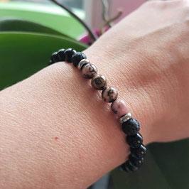 Bracelet femme en rhodonite et onyx noir