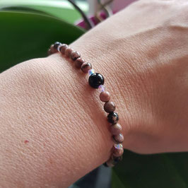 Bracelet femme en rhodonite 4mm