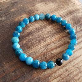 Bracelet couple femme en apatite bleue