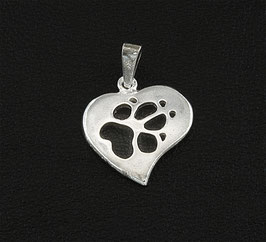 Herz mit druchbrochener Hundepfote
