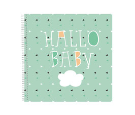 Babybuch Babytagebuch grün Wolke Spiralbindung