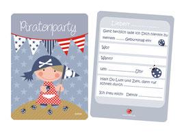 Einladungskarten Kindergeburtstag Piratin Piratenparty blau