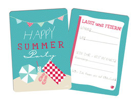 "Einladungskarten "" Happy Summer Party"" blau"