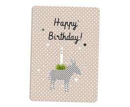 Glückwunschkarte Esel mit Kerze millimi
