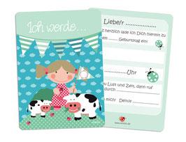Einladung Kindergeburtstag Tiere Bauernhof blau grün