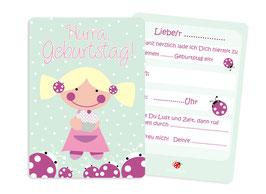 Einladung Kindergeburtstag Mädchen Sweety pastell mint