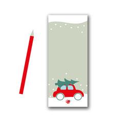 Notizblock Weihnachten AUTO mit Tannenbaum Millimi