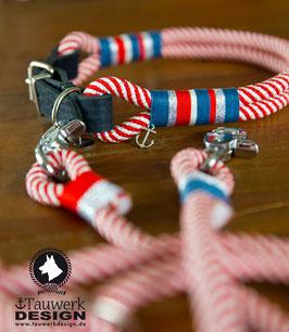 Rot-weißes Halsband mit Anker