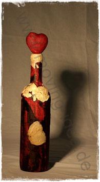 Dekoflasche rot mit weißen Rosenblättern II