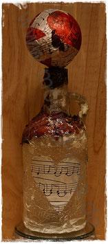 Dekoflasche Weiß mit roter Dekokugel