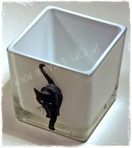 """Glas-Windlicht """"Katze auf Pirsch"""""""
