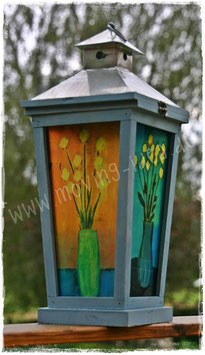 """Gartenlaterne mit Malerei """"Blume"""""""