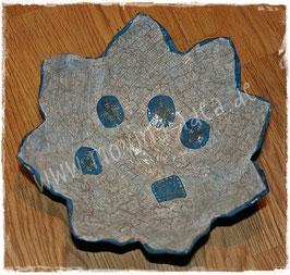 Blütenschale Blau mit Goldlasur