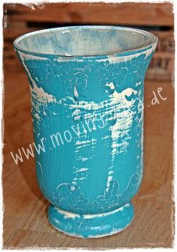 Shabby Chic Vase Petrol-Weiß
