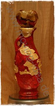 Midi-Dekoflasche rot mit weißen Rosenblättern