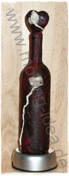 Dekoflasche in Lila mit Deko-Herz