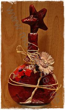 Dekoflasche in Lila mit Blüte und Dekostern
