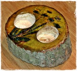 Holz-Kerzenständer für 2 Teelichter