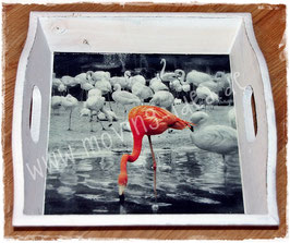 "Shabby Chic Tablett ""Flamingo"""
