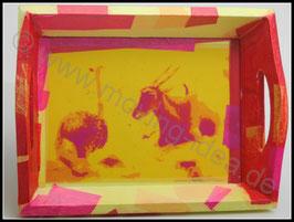 Tablett: Antilope und Strauss in gelb-rot