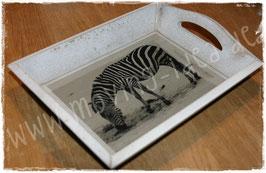 Kleines Shabby Chic Tablett mit Zebra