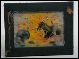 Afrika Serie: Antilope und Strauß im schwarzen Rahmen