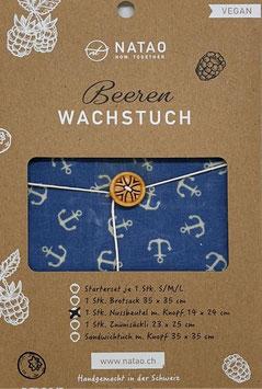 Beerenwachs Nussbeutel m. Knopf, Anker (14x24)