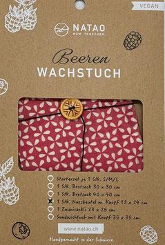 Beerenwachs Nussbeutel m. Knopf, Sterne rot (11x22)