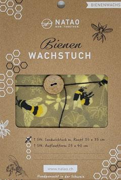 Bienenwachs Sandwichtuch mit Knopf, Hummel