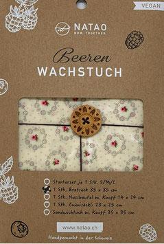 Beerenwachs Brotsack m. Knopf 35x35 cm,  weiss Blüemli
