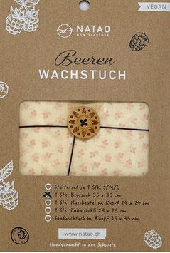 Beerenwachs Brotsack m. Knopf Blüemli blass (35x35)
