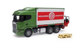 SCANIA R-Serie LKW mit Container-Wechselbrücke und Mitnahmestapler