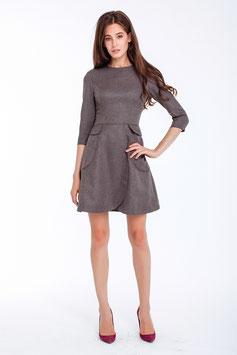 Fit und Flare Kleid, grau