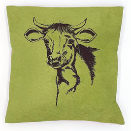 Kissenhülle: Braune Kuh auf grünem, Stoff (klein), Rückseite: Florales Muster, Alcantara Imitat (hochwertiges Velourslederimitat)