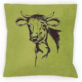 Kissenhülle: Braune Kuh auf grünem, Stoff (klein), Rückseite: Grau, Alcantara Imitat (hochwertiges Velourslederimitat)