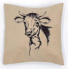 Kissenhülle: Braune Kuh auf hellbeigem, Stoff (klein), Rückseite: Rot/weiß kariert, Alcantara Imitat (hochwertiges Velourslederimitat)