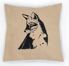 Kissenhülle: Schwarzer Fuchs auf hellbeigem Stoff, Rückseite: Dunkelbraun, Alcantara Imitat (hochwertiges Velourslederimitat)