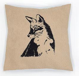 Schwarzer Fuchs auf hellbeigem Stoff, Rückseite: Dunkelbraun, Alcantara Imitat (hochwertiges Velourslederimitat)