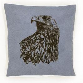 Kissenhülle: Schwarzer Adler auf blauem Stoff, Rückseite: Grau, Alcantara Imitat (hochwertiges Velourslederimitat)