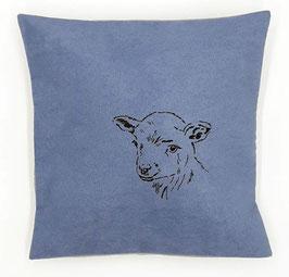 Kissenhülle: Schäfchen auf blauem Stoff, Rückseite: Grau,  Alcantara Imitat (hochwertiges Velourslederimitat)