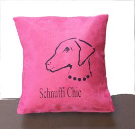 Schnuffi Chic auf pinkem Stoff (klein), Rückseite: Florales Muster, Alcantara Imitat (hochwertiges Velourslederimitat)