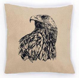 Kissenhülle: Schwarzer Adler auf beigem Stoff, Rückseite: Braun/weiß kariert, Alcantara Imitat (hochwertiges Velourslederimitat)